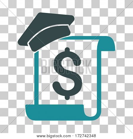 Education Invoice icon. Vector illustration style is flat iconic bicolor symbol, soft blue colors, transparent background. Designed for web and software interfaces.