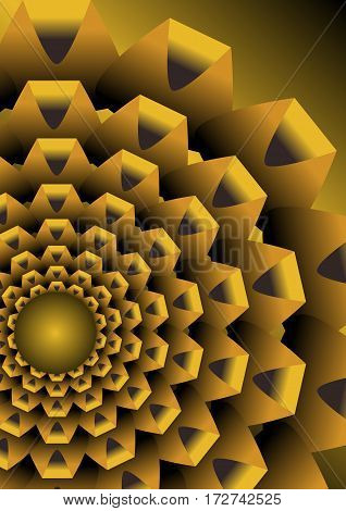 Abstract background with golden op art element