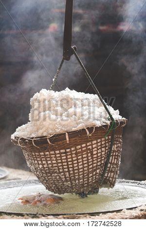 Boiling Rock Salt Traditional Salt Making Of Nan Province,thailand. Selective Focus.