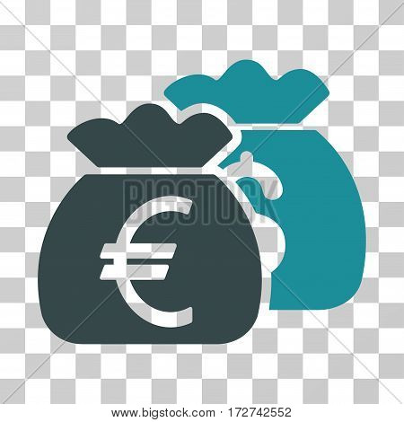 Euro Money Bags icon. Vector illustration style is flat iconic bicolor symbol, soft blue colors, transparent background. Designed for web and software interfaces.
