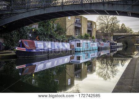 British Water Canal With House Boats