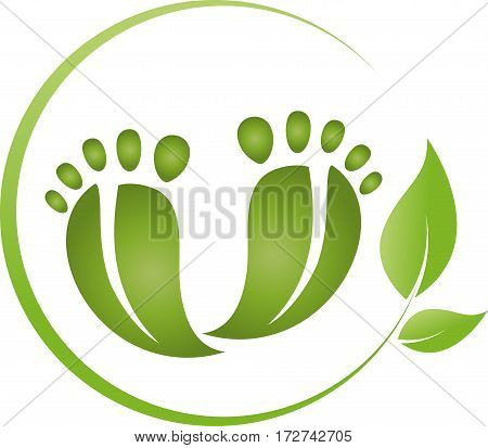Two feet and leaves, foot care logo
