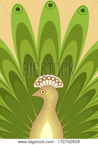 Background with stylized bird. Peacock with rich tail. Yellow and green designed illustration.