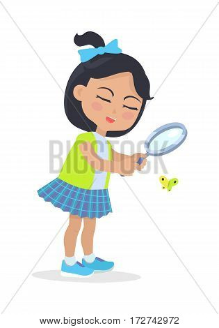 Girl looking at butterfly through magnifying glass. Teenager wearing blue skirt and shoes, green vest. Bright fly. Child with closed eyes and bow on head. Cartoon style. Kindergarten character. Vector