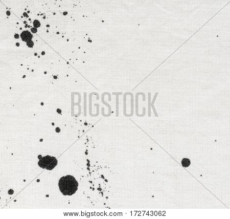 Pattern with ink blobs spots and drips. Hand drawn spray splash on cotton..