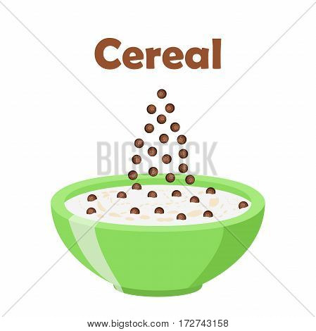 Cereal chocolate balls. Milk in oatmeal breakfast. Organic muesli. Flat vector style.