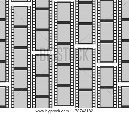 Seamless pattern with monochrome cinema or movie reel