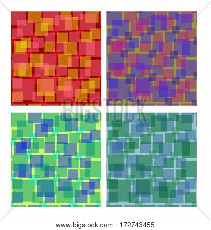 Set of square patterns in different colors overlapping semitransparent square shapes seamless vector background collection