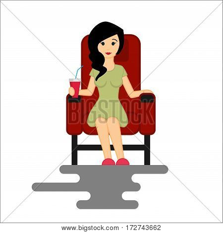 Young woman watching movie in the Cinema with popcorn bucket. Vector Illustration isolated on white background
