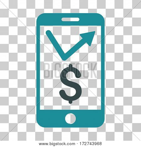 Mobile Sales Report icon. Vector illustration style is flat iconic bicolor symbol, soft blue colors, transparent background. Designed for web and software interfaces.