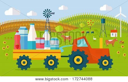 Milk eco farm concept vector. Flat design. tractor with trailer fill dairy products, traditional farm landscape with farmyard, domestic animals, houses, apiary, windmill, river, fields and garden.