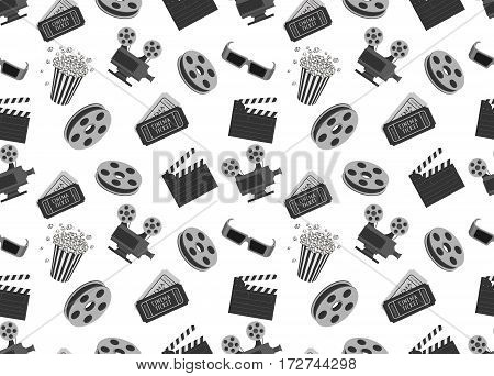 Cinema seamless pattern with movie objects. Clapperboard, tickets, 3d glasses and popcorn