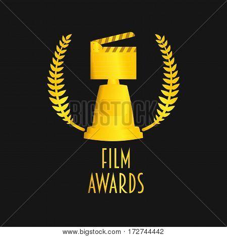 Film awards festival vector symbol or badge illustration with clapboard. Gold on dark backgrond