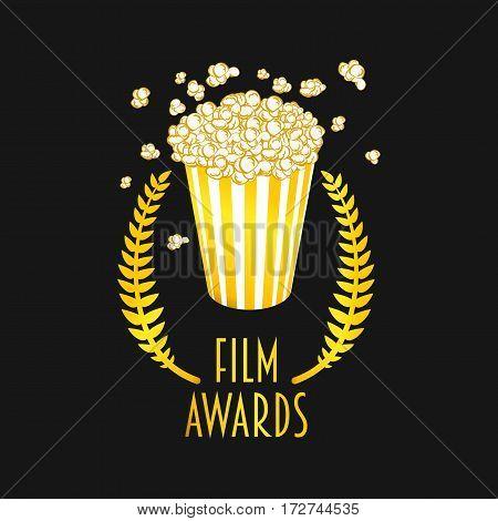 Film awards festival vector symbol or badge illustration with popcorn. Gold on dark backgrond