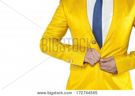 Upset Businessman Buttons Buttoned Jacket