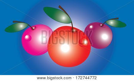 Three large cherry with glare isolated gradient background.