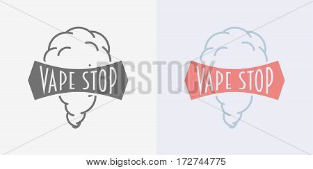 Vaping logo or symbol design concept isolated on white background. Color and monochrome
