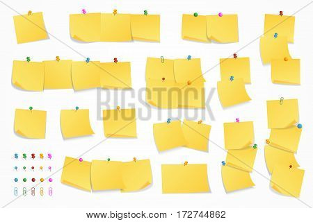 Yellow sticker set pinned push button with curled corner and push pin set isolated on white background ready for your message. Vector illustration