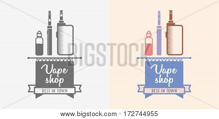 Vaping box mod illustration isolated on white background. Color and monochrome logo or symbol design concept.