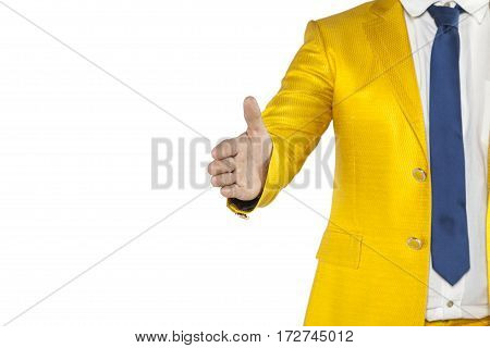 Businessman Pulls Out His Hand In Greeting