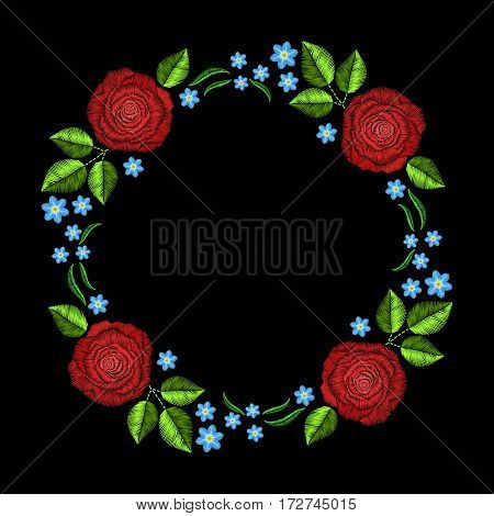 Vintage embroidery wreath with roses for decor. Vector fashion ornament on black background for textile, fabric traditional folk decoration.
