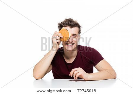 Men With Hamburger In Hands