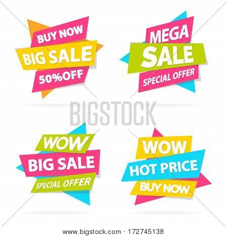 Set of discount sticker special offer, advertisement tag, sale, super sale, mega sale, hot price, discounte poster isolated on white background. Vector Illustration