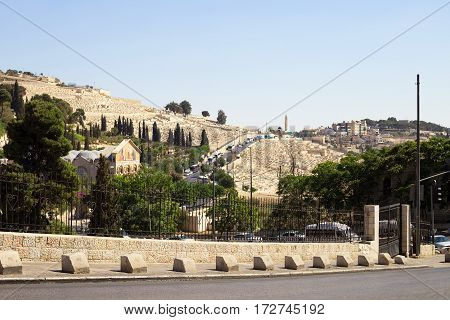 Mount Of Olives Jerusalem Israel. The Basilica of the Agony at the Garden of Gethsemane Church of All Nations. View from the walls of Jerusalem