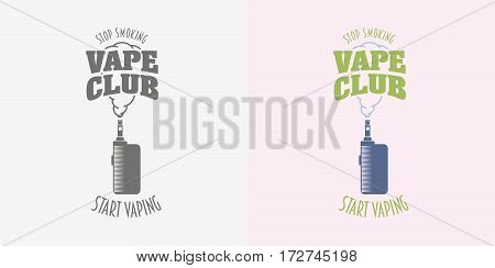 Vape club badge, logo or symbol design concept. Vaping box mod and cloud vector illustration isolated on white background.