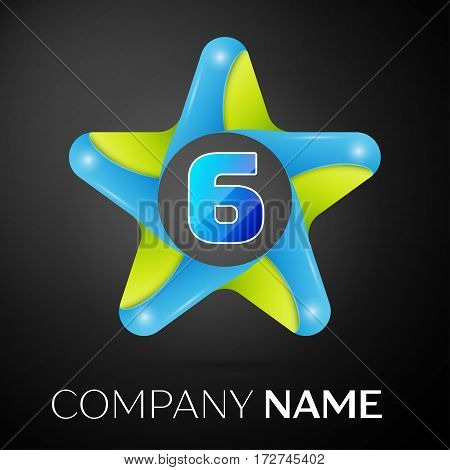 Number six vector logo symbol in the colorful star on black background. Vector template for your design