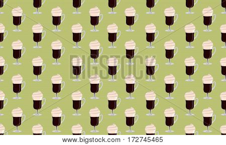 Irish coffee vector seamless pattern on green background