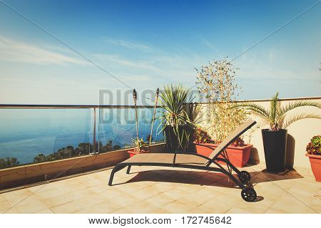 Luxury terrace balcony for relaxed vacation at sea beach