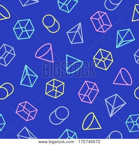 Geometric pattern seamless different color style consisting of line geometric shapes on cyan background. For use on stickers, banners, cards. Geometric pattern memphis style. Vector Illustration