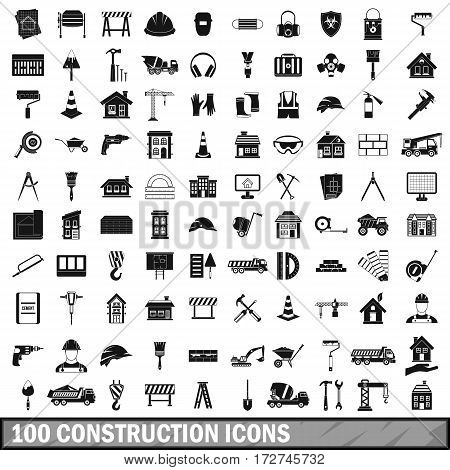 100 construction icons set in simple style for any design vector illustration