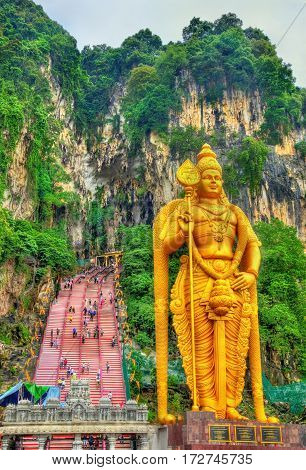 The world's tallest statue of Murugan, a Hindu deity, at the entrance of Batu Caves - Kuala Lumpur, Malaysia