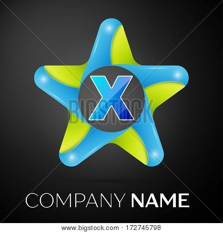 Letter X vector logo symbol in the colorful star on black background. Vector template for your design