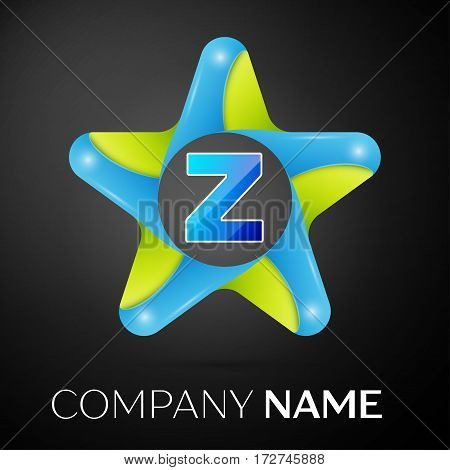 Letter Z vector logo symbol in the colorful star on black background. Vector template for your design