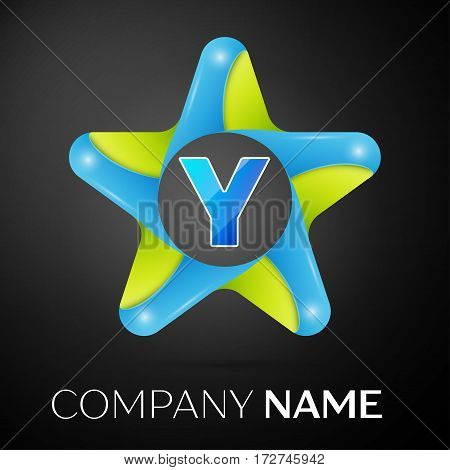 Letter Y vector logo symbol in the colorful star on black background. Vector template for your design