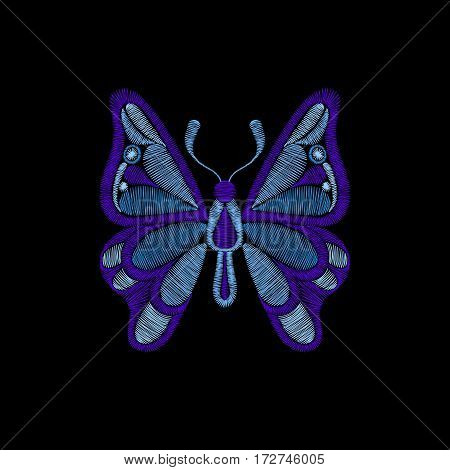 Embroidery with butterfly. Template for fabric, textile floral print. Fashion design for girl wear decoration. Tradition ornamental pattern. Vector illustration on black background.