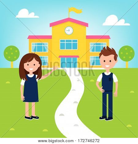 School Poster with Girl and Boy Wearing Uniform and School Building. Vector Illustration