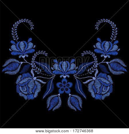 Embroidery with blue flowers, roses. Necklace for fabric, textile floral print. Fashion design for girl wear decoration. Tradition ornamental pattern. Vector illustration.