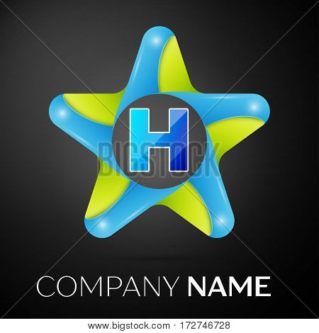 Letter H vector logo symbol in the colorful star on black background. Vector template for your design