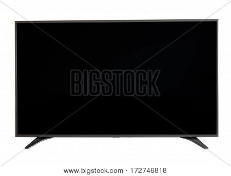 Isolated flat LCD television with silver frame and stand on white background