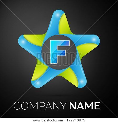 Letter F vector logo symbol in the colorful star on black background. Vector template for your design