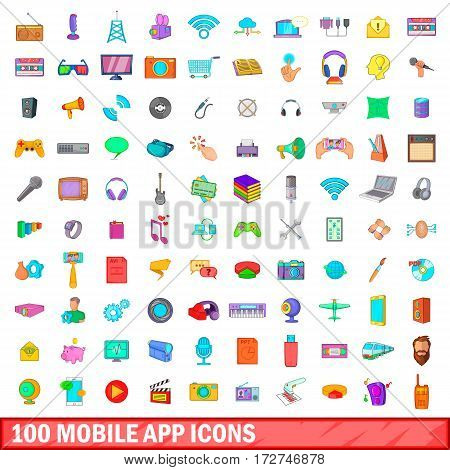 100 mobile app icons set in cartoon style for any design vector illustration