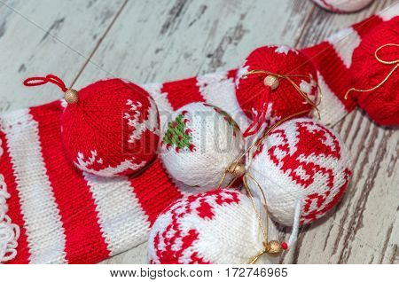 Christmas Balls Hand Knitted Group