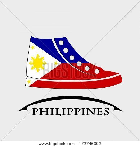 shoes icon made from the flag of Philippines