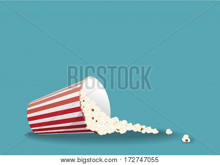 Vector illustration with bucket of popcorn scattered on the floor