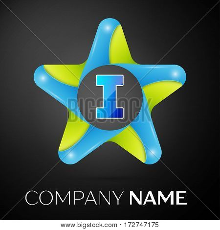 Letter I vector logo symbol in the colorful star on black background. Vector template for your design