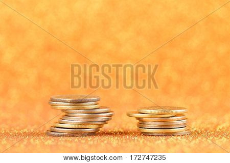 Stacks of golden coins. Financial concept. Money